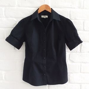 Merona Black Blouse Top Short Sleeve Button Size S